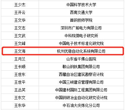 杭州优稳公司董事长王文海入选2018年享受国务院政府特殊津贴人员名单